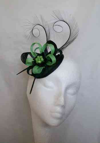 Black and Apple Green Delilah Curl Feather and Sinamay Loop Fascinator