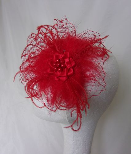 Bright Red Betsy Vintage Style Fascinator