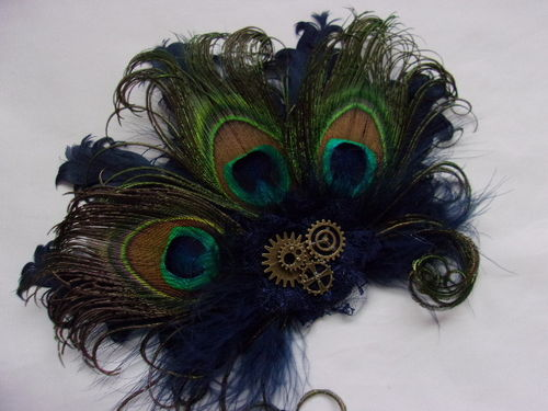 Navy Blue Steampunk Daphne Peacock Feather and Cogs Hair Clip Fascinator