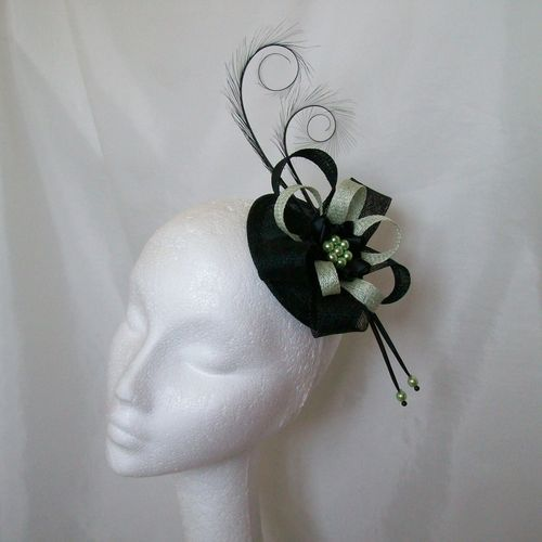 Black and Pale Surf Green Delilah Curl Feather and Sinamay Loop Fascinator