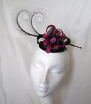 Black and Magenta Delilah Curl Feather and Sinamay Loop Fascinator