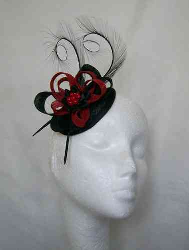 Black and Poppy Red Delilah Curl Feather and Sinamay Loop Fascinator