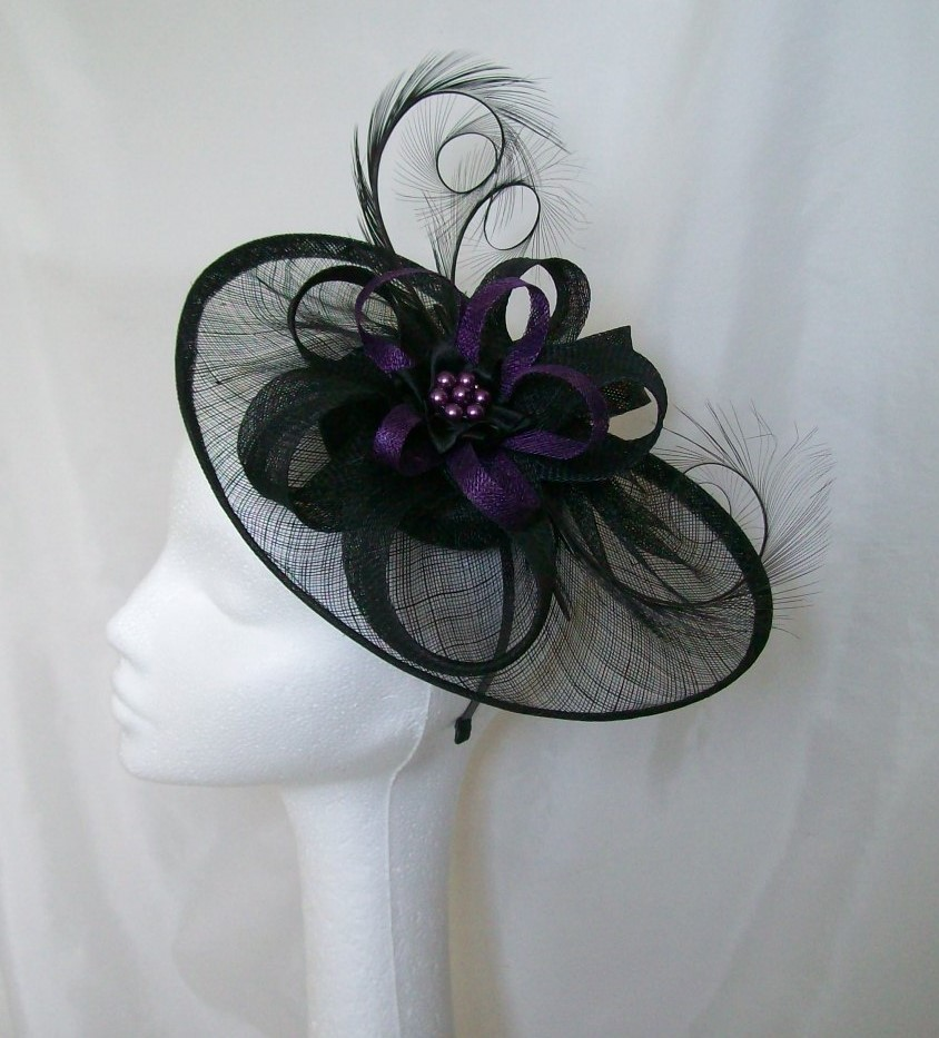 Black   Deep Purple Sinamay Saucer   Loop Curl Feather and Feather ... 2ee1d9902ab
