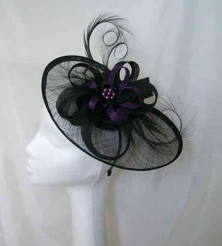 Black and Dark Purple Cecily Saucer Style Feather and Sinamay Loop Fascinator Hat