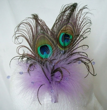Lilac Mauve Victoriana Burlesque Style Peacock Feather Fascinator