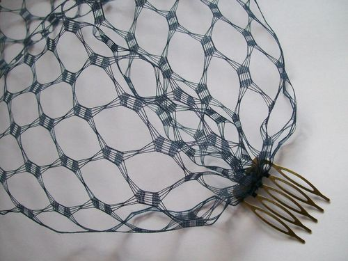 French Navy Vintage Style Waffle Weave Bandeau Veil
