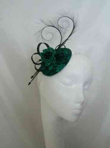 Emerald and Black Lace Isadora Vintage Style Curl Feather Fascinator