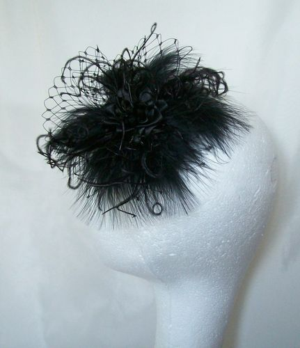 Black Betsy Fluff Feather and Veiling Vintage Style Hair Clip Fascinator