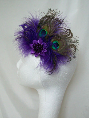 Purple Victoriana Peacock Feather Burlesque Fascinator Clip