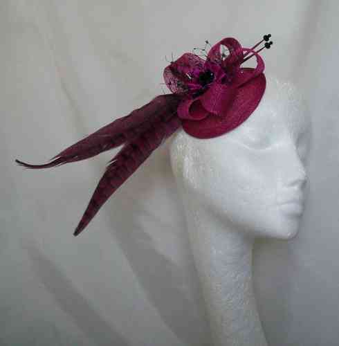 Magenta Clara Country Style Pheasant Feather and Sinamay Fascinator