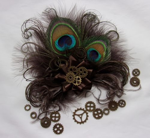 Dark Chocolate Brown Steampunk Little Gem Peacock Clip