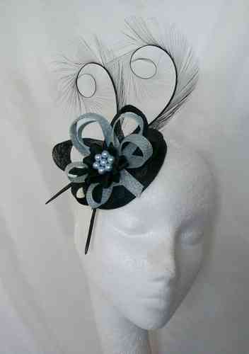 Pale Blue and Black Delilah Curl Feather and Sinamay Fascinator