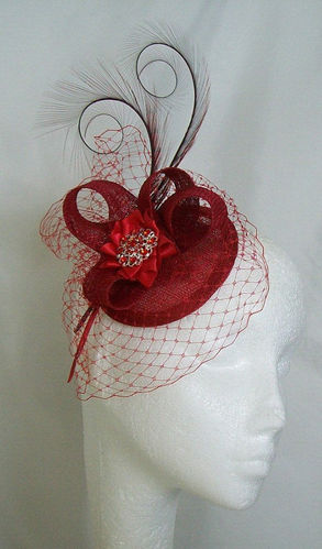 Poppy Red Veil Isadora Curl Feather & Sinamay Fascinator