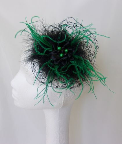 Black and Emerald Green Feather Veil Vintage Style Headpiece