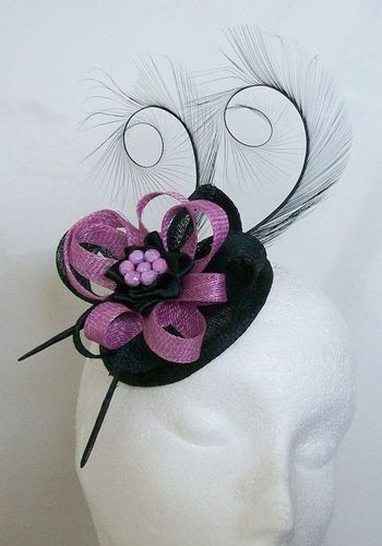 Black and Radiant Orchid Lavender Delilah Curl Feather and Sinamay Loop Fascinator