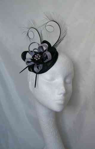 Black and Pale Lilac Delilah Curl Feather and Sinamay Loop Fascinator