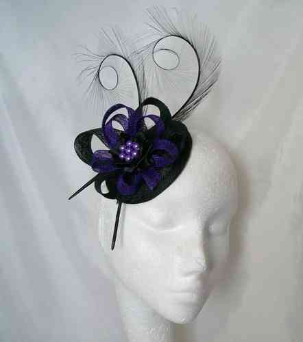 Black and Dark Purple Delilah Curl Feather and Sinamay Loop Fascinator