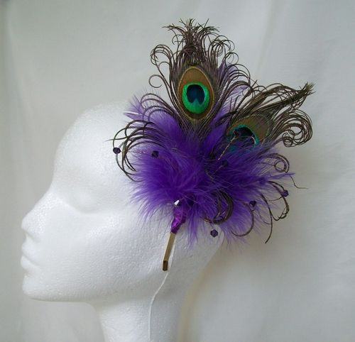 Purple Victoriana Burlesque Style Peacock Feather Fascinator