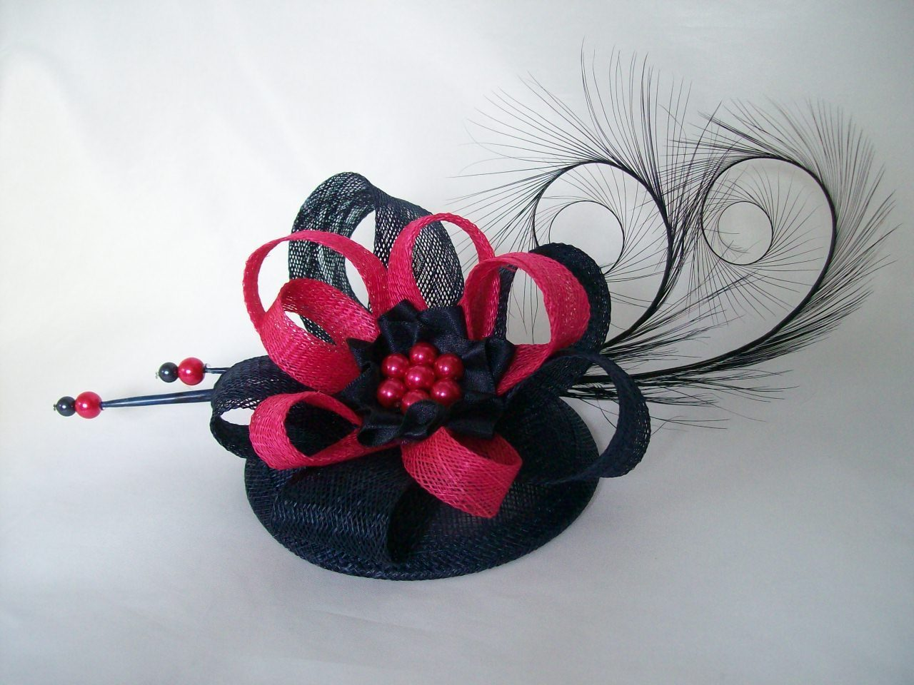 Navy Blue And Cerise Pink Delilah Curl Feather Sinamay