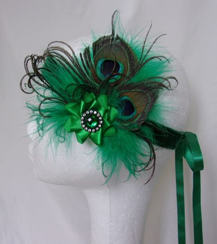Emerald Green Peacock Feather Vintage Style Flapper Band