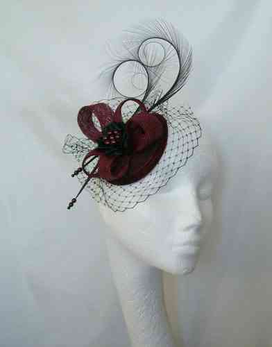 Burgundy and Black Veil Isadora Curl Feather and Sinamay Fascinator