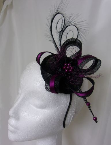 Black & Amethyst Isabel Curl Feather and Sinamay Fascinator Hat