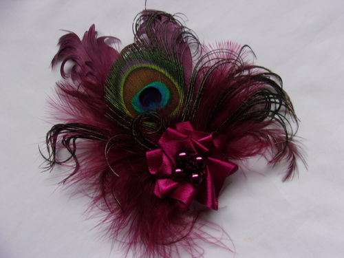 Burgundy Wine Peacock Feather and Pearl Brooch