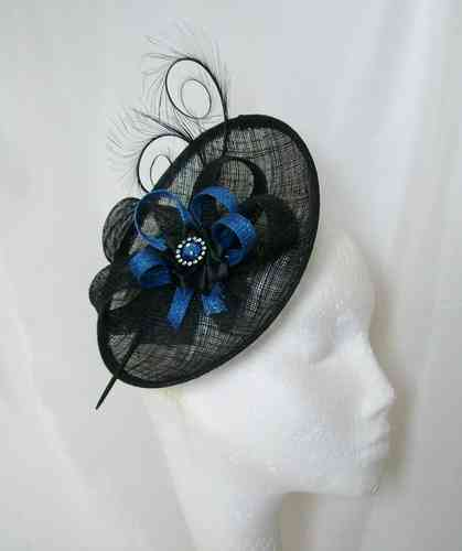 Black and Sapphire Blue Pandora Upback Curl Feather Fascinator Hat