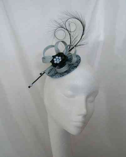 Black and Pale Blue Lace Isadora Vintage Style Fascinator