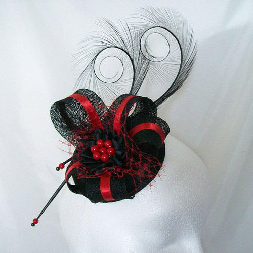 Scarlet Red and Black Isabel Curl Feather and Sinamay Ribbon Fascinator