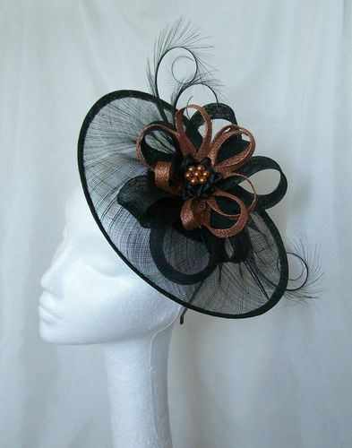 Black and Copper Cecily Saucer Style Sinamay Loop Fascinator Hat