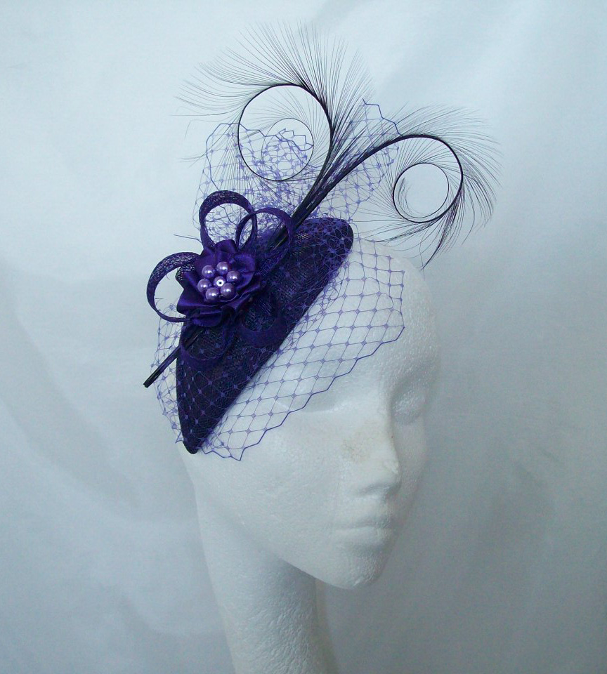 Dark Purple Eleanora Blusher Veil Curl Feather   Pearl Teardrop Fascinator  Mini Cocktail Hat Wedding Derby - Custom Made to Order by Indigo Daisy  Weddings ... c64c951af4d