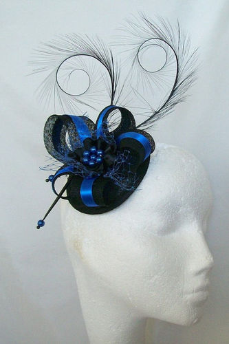 Black and Royal Blue Cobalt Isabel Curl Feather and Sinamay Ribbon Fascinator