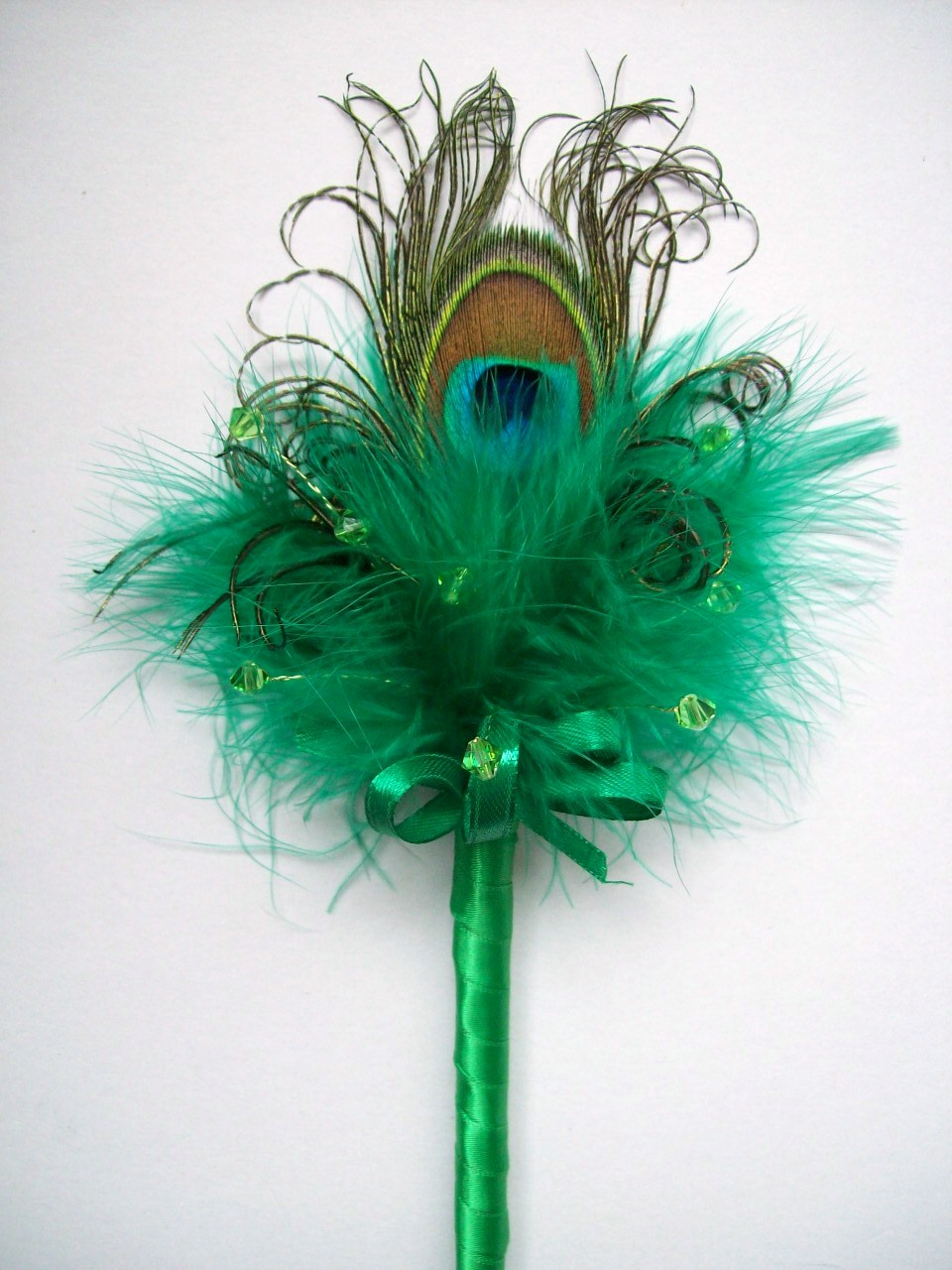 Emerald Green Peacock Feather Crystal Fairy Wand