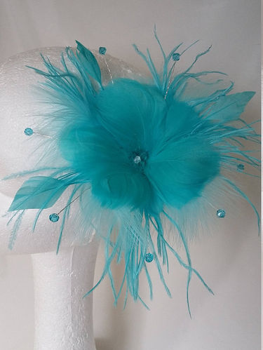Pale Turquoise Blue Suki Feather Flower and Crystal Fascinator