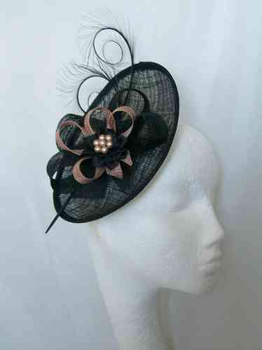 Black and Latte Nude Pandora Upback Curl Feather Fascinator Hat