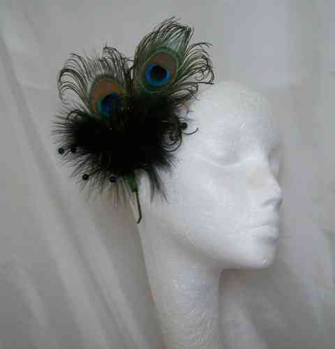 Black Victoriana Burlesque Style Peacock Feather Fascinator