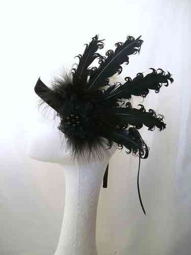 Black Cora Curly Feather Vintage Style Flapper Band