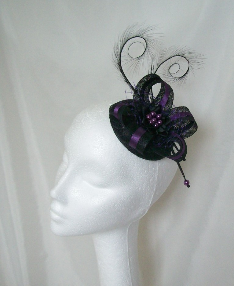 Black   Purple Pheasant Curl Feather Sinamay and Pearl Isabel ... 5809f3ebacd