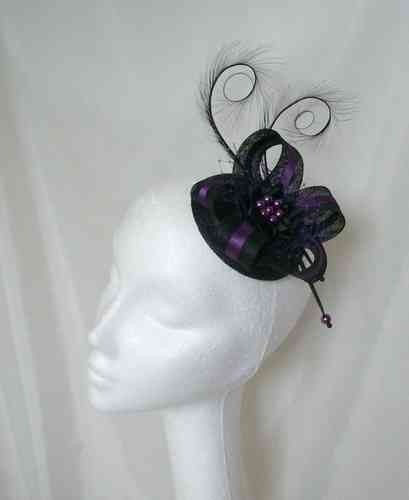 Black and Purple Isabel Curl Feather and Sinamay Ribbon Fascinator