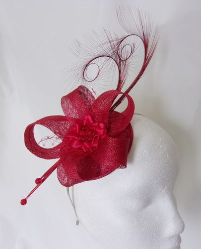 Poppy Red Isadora Curl Feather and Sinamay Loop Fascinator