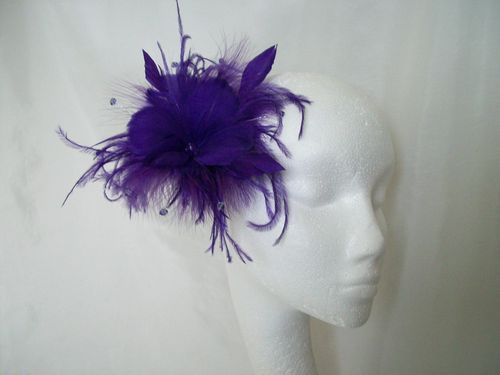 Purple Suki Feather Flower Fascinator