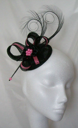 Black and Fuchsia Pink Leopard Print Isabel Curl Feather and Sinamay Ribbon Fascinator