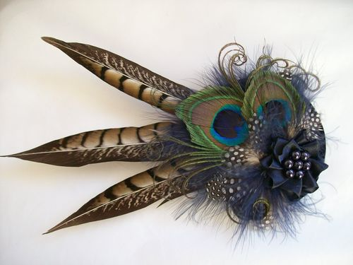 Minerva- Rustic Pheasant and Peacock Feather Hair Clip Style