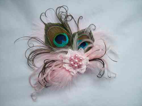 Blush Pink Little Gem Peacock Feather Hair Clip