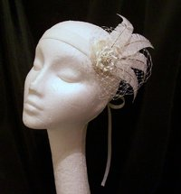 Ivory Mary Ostrich Feather Vintage Style Flapper Band