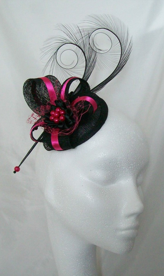 235d4368c865e Black   Cerise Pink Pheasant Curl Feather Sinamay and Pearl Isabel ...