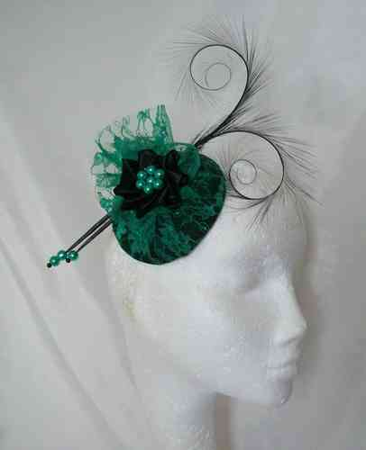 Emerald and Black Diana Lace and Curl Feather Fascinator