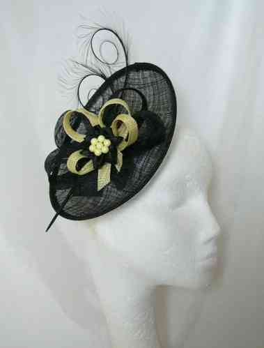 Black and Lemon Yellow Pandora Upback Curl Feather Fascinator Hat