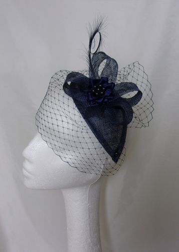 Light Navy Blue Endora Veiled Vintage Style Curl Feather & Pearl Teardrop Fascinator
